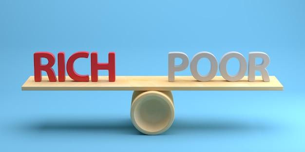 가난하고 부유한 개념. 3d 렌더링