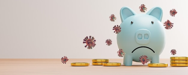 コインとコロナウイルスがテーブルにある青い貯蓄貯金箱の貧弱さと悲しみ、covid-19パンデミックは、2019年以来、経済不況を引き起こしています、3dレンダリング。