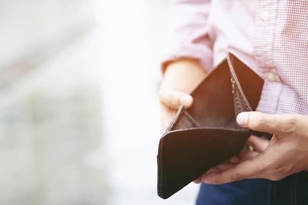 Poor and broke wallet is empty and no money