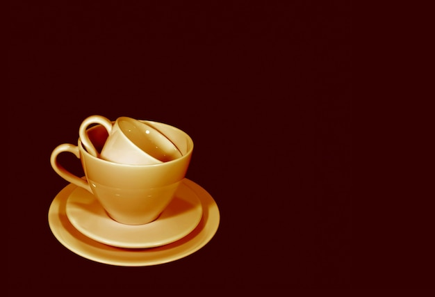 Pop art style brown color tone stack of two different size of coffee cup sets