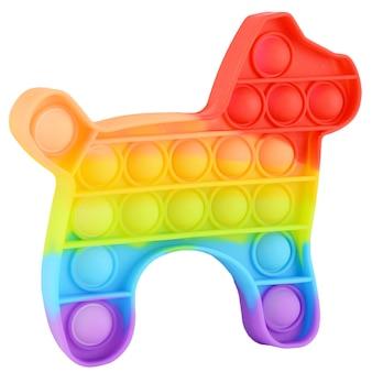 白い背景で隔離のシリコーンレインボー抗ストレスおもちゃをポップします。大人と子供のためのシンプルなディンプル、人気のあるモダンなストレス解消おもちゃ。そわそわする子供のおもちゃ、ポップバブルそわそわ。