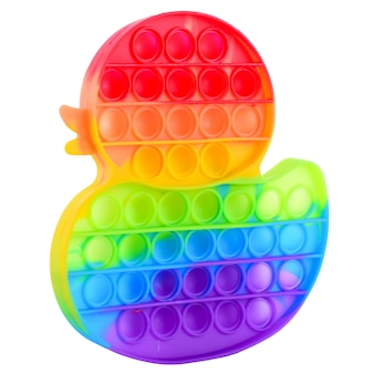 Pop it silicone rainbow anti-stress toy isolated on white background. simple dimple, popular modern stress relief toys for adults and children. fidget kid toy, pop bubble fidget. duck shape.