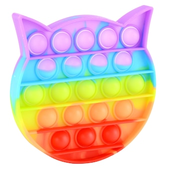 Pop it silicone rainbow anti-stress toy isolated on white background. simple dimple, popular modern stress relief toys for adults and children. fidget kid toy, pop bubble fidget.