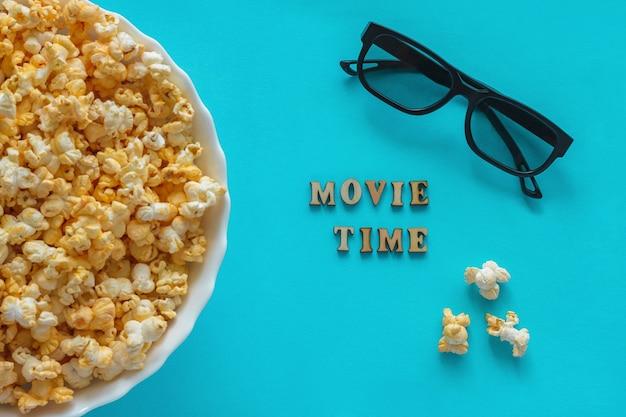 Popcorn, 3d glasses. text