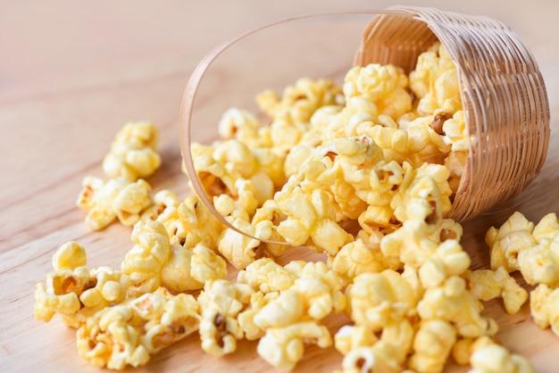 Popcorn in basket - sweet butter popcorn salt