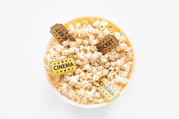 Popcorn bowl and cinema tickets