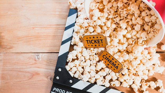 Popcorn in bucket and clapperboard
