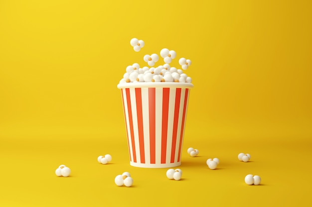 Popcorn bucket. movie snack. cinema concept. 3d rendering illustration.