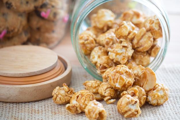 Popcorn caramel in glass jar