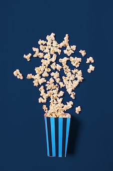 Popcorn on classic blue color top view