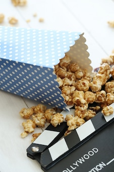 Popcorn and clipboard and clapboard