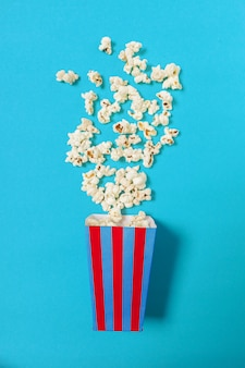 Popcorn on color surface
