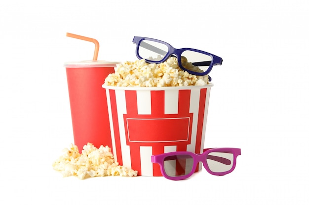 Popcorn, cup with straw and 3d glasses isolated on white