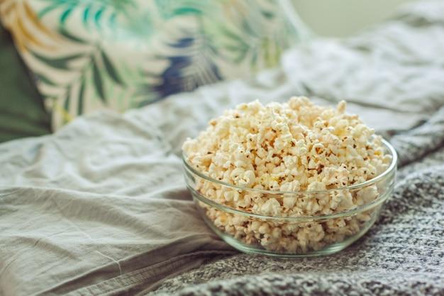 Popcorn in glass bowl