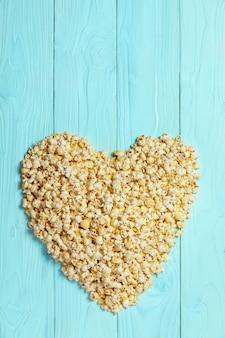 Popcorn love background natural on blackboard
