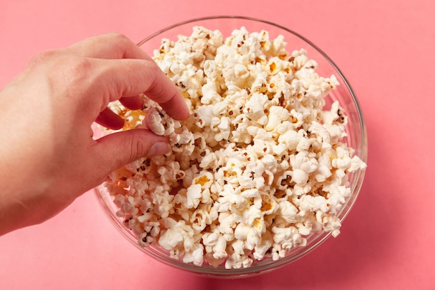 Popcorn on orange