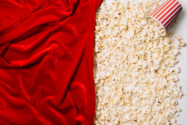 Popcorn and red fabric