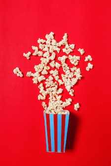 Popcorn on red