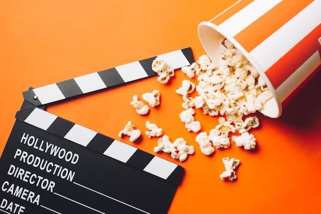 Popcorn spilled near clapperboard