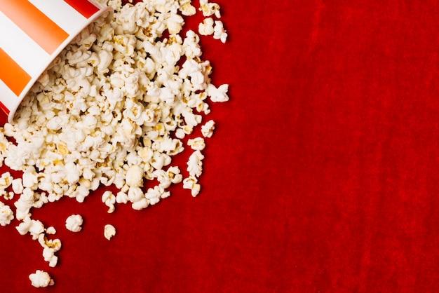 Popcorn spilled on velvet cloth