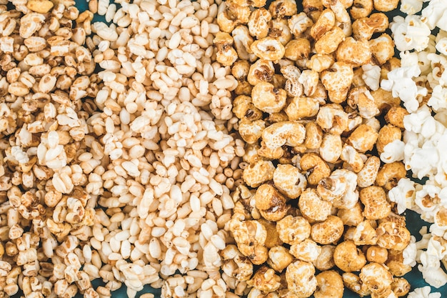 Popcorn and wheat corns