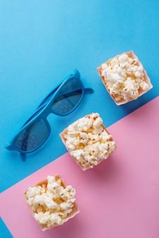 Попкорн с 3d очки на синем