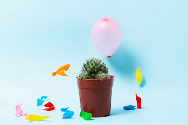 Popped balloons and cactus on blue background