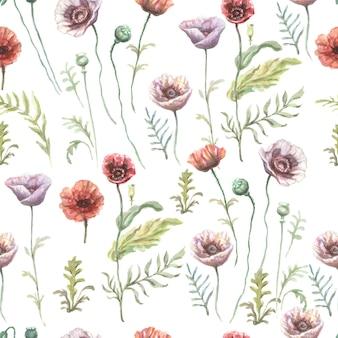 ポピーの花赤紫野花手描き水彩イラスト。スケッチプリントテキスタイル背景パターンシームレスセットフレームボーダー。自然植物は装飾を残します Premium写真