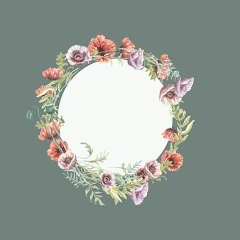 ポピーの花赤紫野花手描き水彩