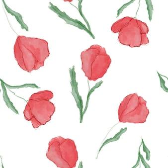 Мак и тюльпан цветы бесшовный узор на белом. текстильный дизайн.