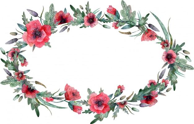 Poppy oval frame isolated on white