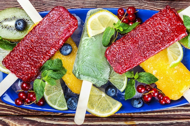 Popsicles with berries and fruit