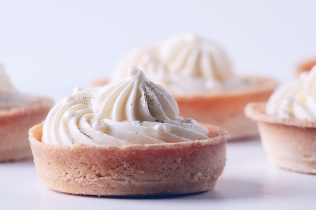 A popular dessert for tea and coffee - cupcakes with meringue cream
