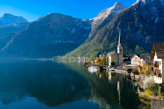 Popular panorama view of hallstatt in april 2019, austria.