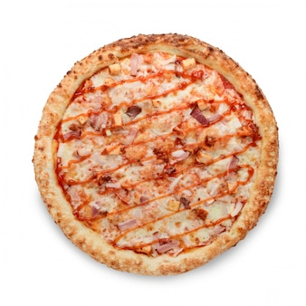 白のアメリカンスタイルのピザ屋で人気のピザのトッピング
