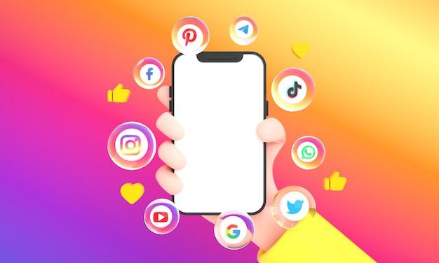 인기 있는 소셜 미디어 아이콘과 소셜 네트워킹 손은 화려한 배경에서 전화 모형을 들고 있습니다.
