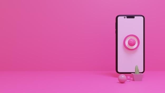 모바일 화면에서 인기 있는 소셜 미디어 로고 아이콘 dribbble 3d 렌더링