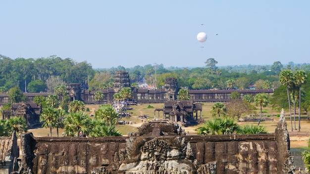 Popular tourist attraction landscape view of ancient temple complex angkor wat in siem reap, cambodia