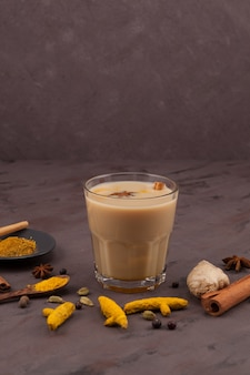 Popular traditional indianasian drink masala chai or spicy herb tea