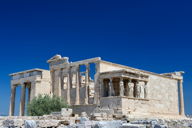 Porch of the erechtheion wuth caryatids, acropolis