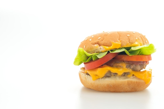 Pork burger with cheese isolated on white background