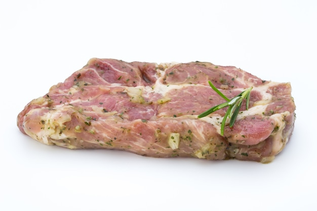 Pork chop, marinated. isolated on the white background.