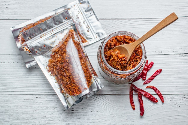 Pork crackling chili paste with the ingredient.