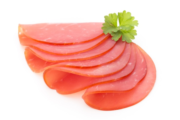 Pork ham slices isolated on white space.