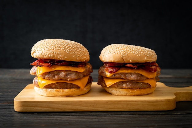 Pork hamburger or pork burger with cheese and bacon