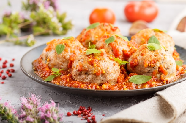 Pork meatballs with tomato sauce, oregano leaves, spices and herbs. side view