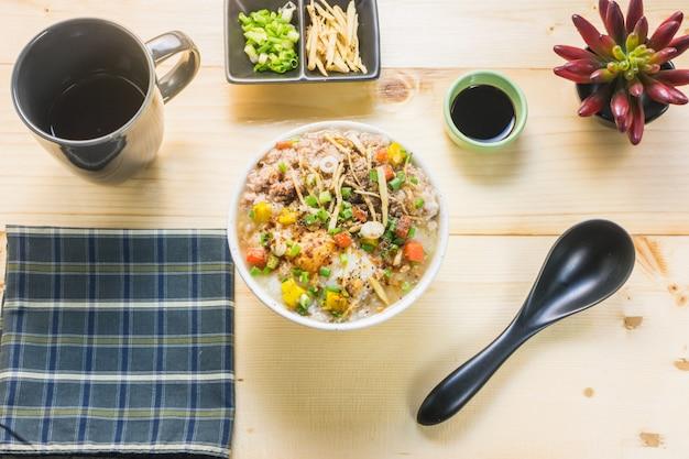 Pork porridge on the table. eat porridge for breakfast popular in asia