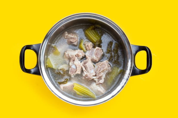 Pork rib soup with pickled cabbage or mustard greens