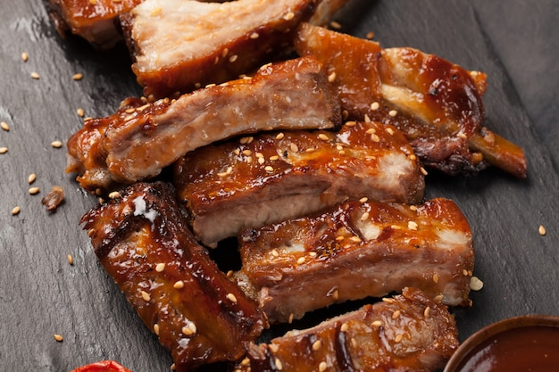 Pork ribs in barbecue sauce.