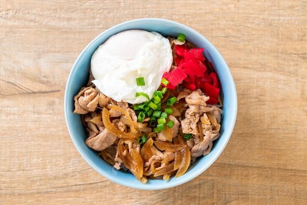 돼지 고기 덮밥 (돈부리). 일본 음식 스타일